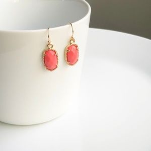 Jewelry - NEW Small Oval Earrings (gold + coral)